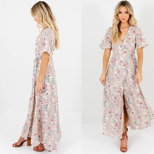 Lush Gardens Gray Floral Maxi Wrap Dress